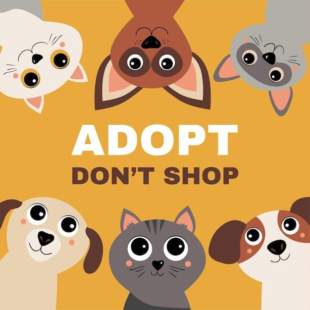 Adotta un concetto di animale domestico con cani e gatti Vettore Premium