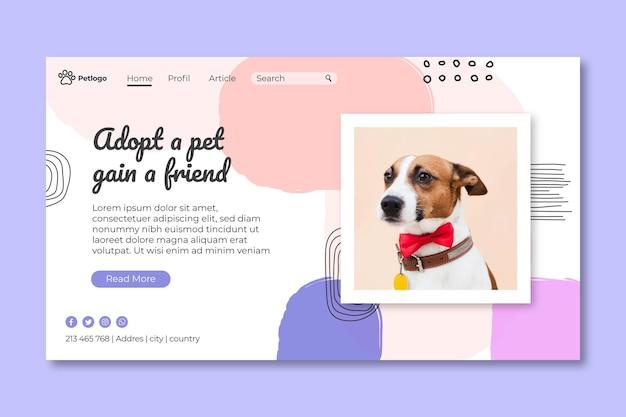 Adotta una pagina di destinazione per animali domestici Vettore Premium
