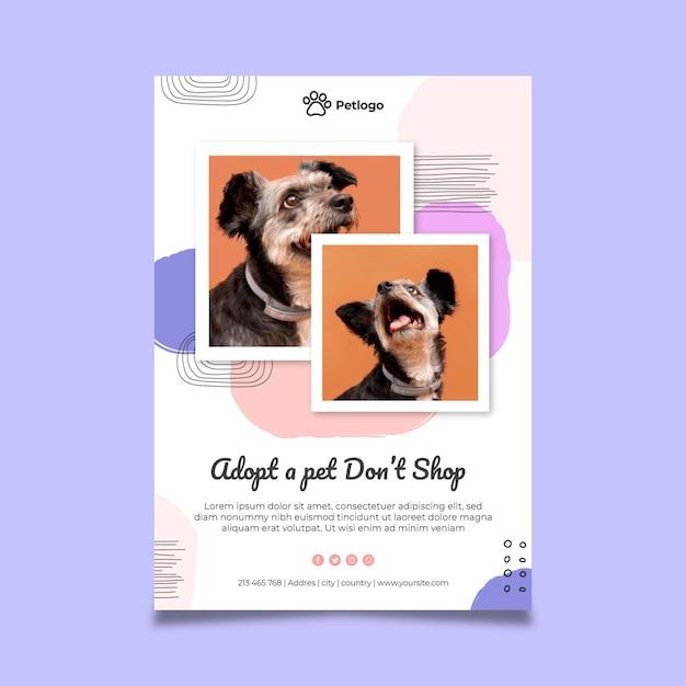 Adotta un poster per animali domestici con simpatici animali Vettore Premium