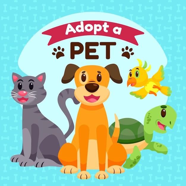 Adotta un animale domestico con tartaruga e cane Vettore Premium