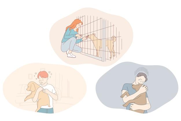 Adozione cani da rifugio, volontariato e aiutare il concetto di animali domestici. Vettore Premium