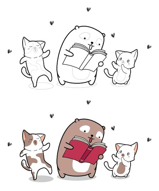 Adorabili orso e gatti stanno leggendo una pagina da colorare dei cartoni animati del libro Vettore Premium