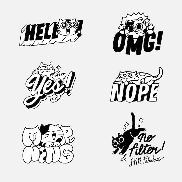 Insieme di attività sveglio adorabile di cat kitten doodle illustration sticker i. ideale per messenger chat app, stampa Vettore Premium