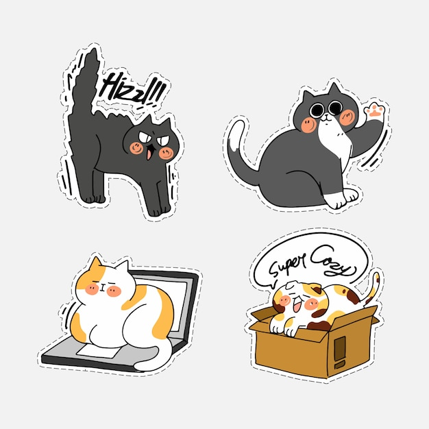 Insieme di attività sveglio adorabile di cat kitten doodle illustration sticker ii. ideale per messenger chat app, stampa Vettore Premium