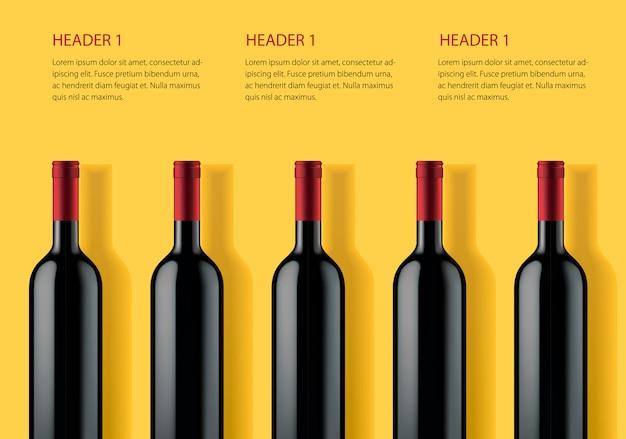 Modello di banner pubblicitari per prodotti alcolici su sfondo giallo. Vettore Premium