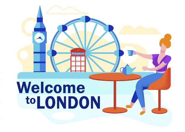 Volantino pubblicitario benvenuto a london lettering. Vettore Premium
