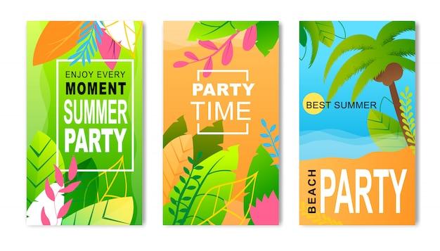 Volantini pubblicitari set inviting to summer party. inviti Vettore Premium