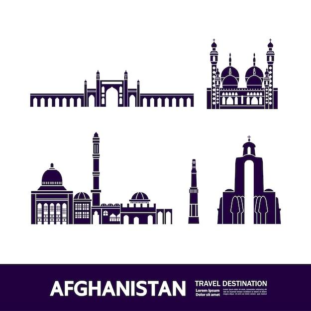 Grande illustrazione della destinazione di viaggio dell'afghanistan. Vettore Premium