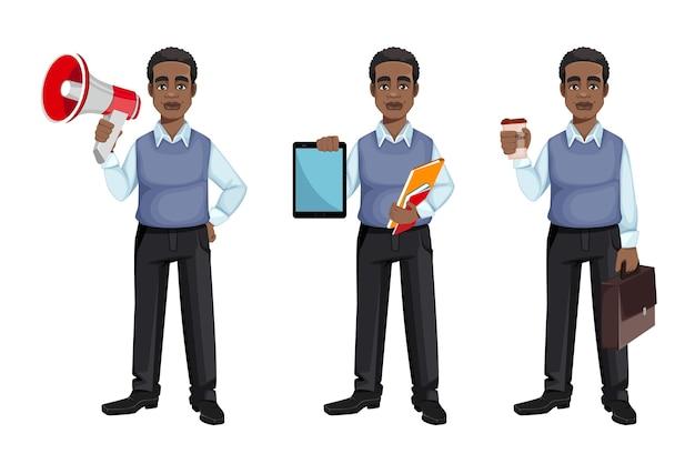 Uomo d'affari afroamericano, set di tre pose Vettore Premium