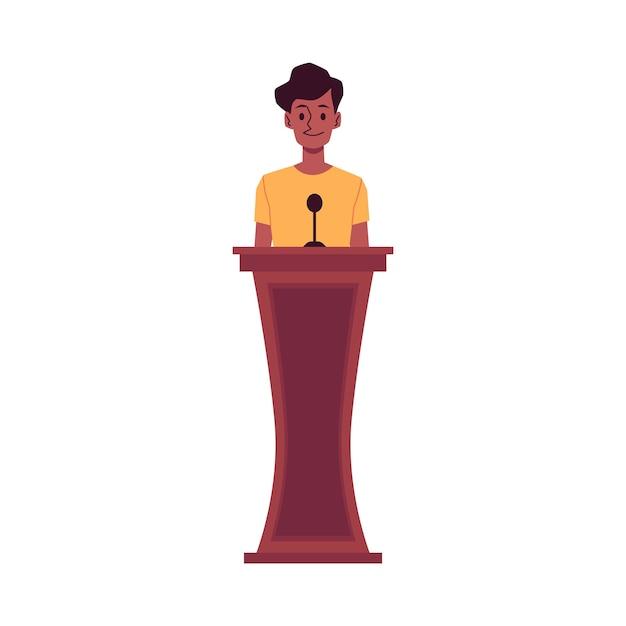 Personaggio dei cartoni animati della donna afroamericana - testimone testimonia in tribunale, illustrazione vettoriale piatta isolato su sfondo bianco. prove di crimine o innocenza durante il processo. Vettore Premium