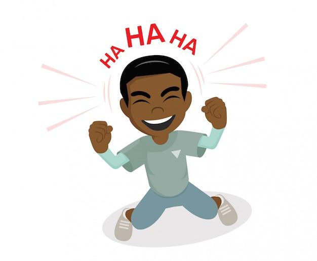 African boy ridendo. Vettore Premium