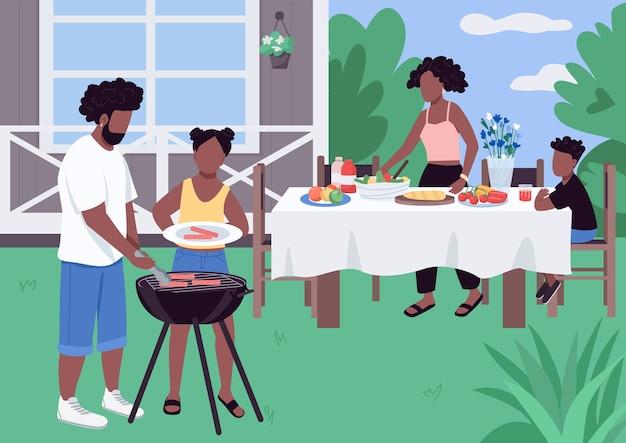 Famiglia africana barbeque illustrazione di colore piatto Vettore Premium