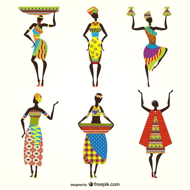Donne africane vettori Vettore Premium