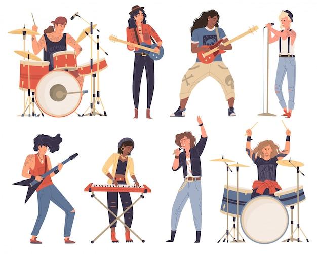 Afro-americani, uomini caucasici, donna, musicisti che suonano strumenti musicali. rock band. Vettore Premium