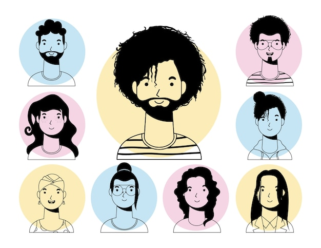 Uomo etnico afro con barba e persone linea vettoriale interrazziale stile design Vettore Premium