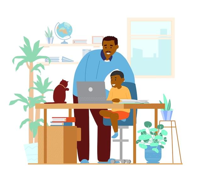 Papà afroamericano o tutor che insegna al figlio a casa. homeschooling. luogo di lavoro interno. illustrazione. Vettore Premium