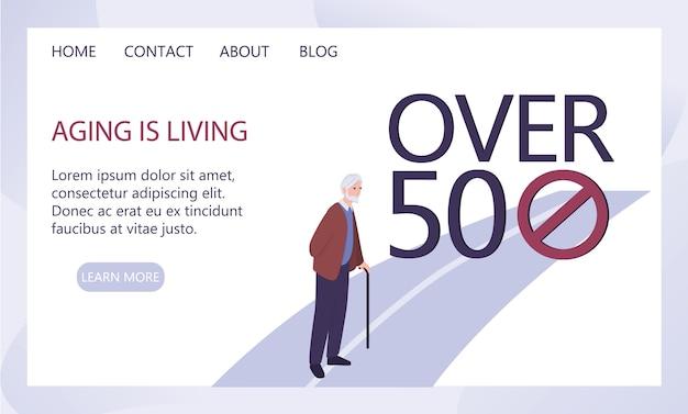 Concetto di età. ingiustizia e problema sociale degli anziani. invecchiare è un'idea vivente. annuncio di servizio sociale o banner web. Vettore Premium