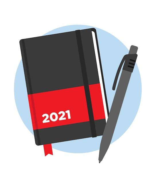 Agenda dell'anno 2021 con penna Vettore Premium