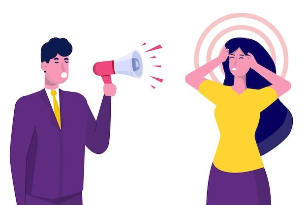 Concetto di gestione aggressiva del leader che grida al manager Vettore Premium