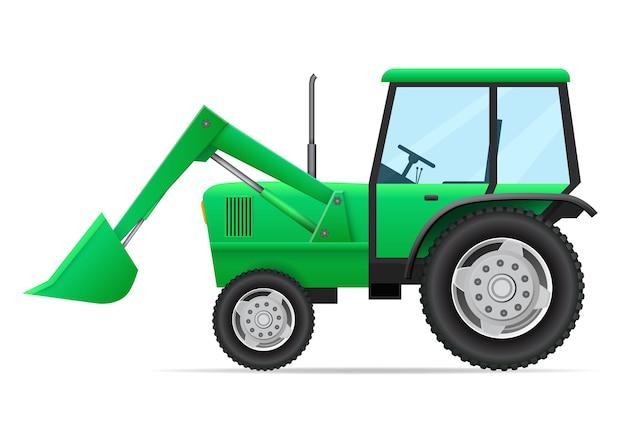 Vista laterale del veicolo agricolo. trattore verde, selezionatore con benna isolata Vettore Premium