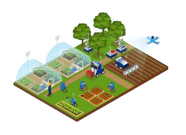Automazione dell'agricoltura, fattoria intelligente, robot, droni Vettore Premium