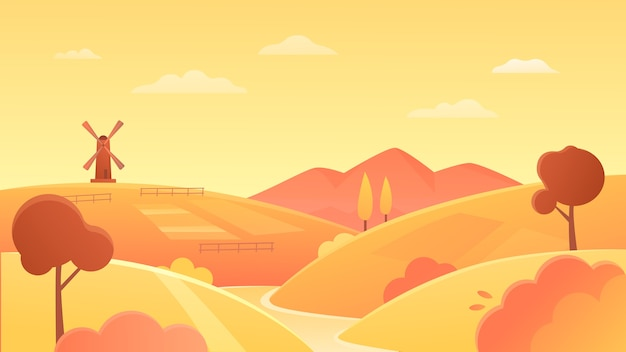 Illustrazione di paesaggio di terreni agricoli di agricoltura. campi di fattoria di grano biologico sulla riva del fiume, colline rotonde rurali gialle e mulino a vento all'orizzonte, terreni agricoli a sfondo tramonto Vettore Premium
