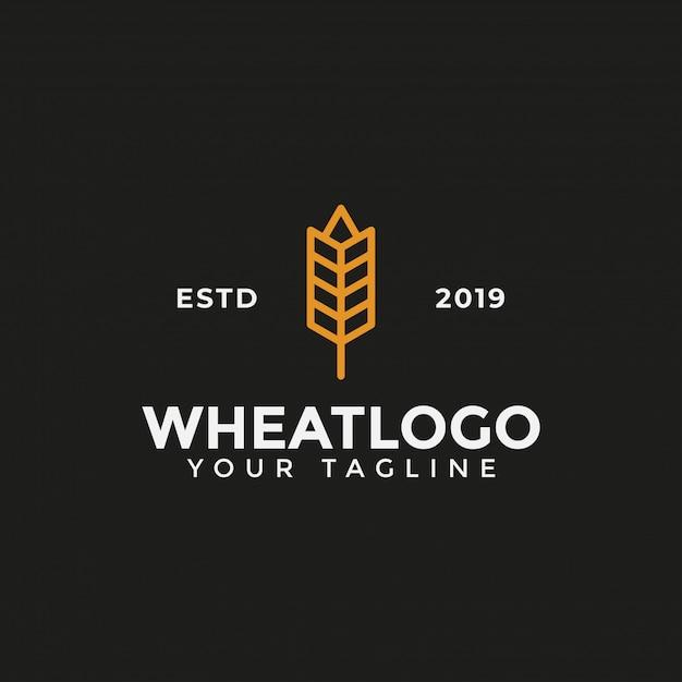 Modello di progettazione di logo di grano di grano di agricoltura Vettore Premium