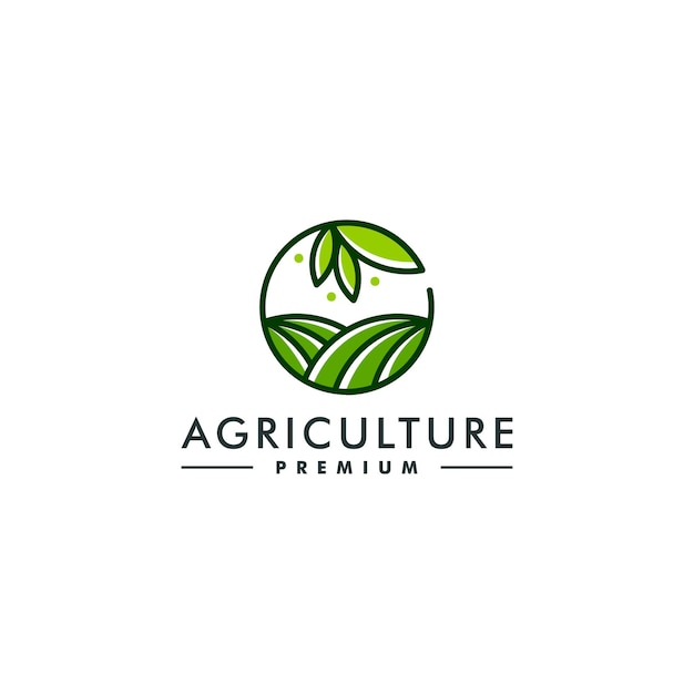 Modello di progettazione di logo di agricoltura. vettore logotipo simbolo fattoria Vettore Premium