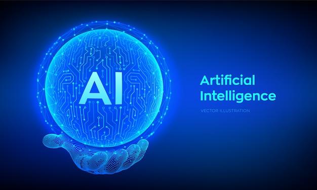 Ai. sfera del circuito di logo di intelligenza artificiale astratta in mano. reti neurali. Vettore Premium
