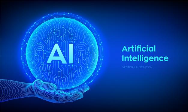Ai. logo di intelligenza artificiale. intelligenza artificiale e concetto di apprendimento automatico. sfera astratta del circuito di tecnologia in mano. tecnologia dei big data. reti neurali. Vettore Premium