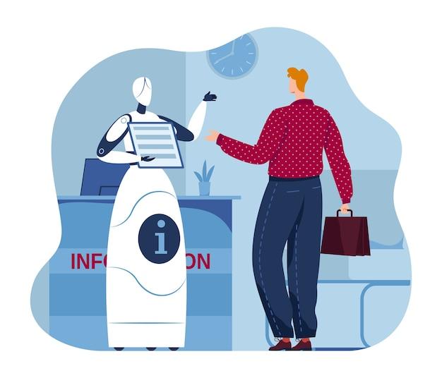 Ai servizi di aiuto piatto, assistenza di intelligenza artificiale all'illustrazione dell'uomo. carattere del robot digitale, concetto di lavoratore di tecnologia robotica. meccanismo di informazione in ufficio, macchina dell'innovazione. Vettore Premium