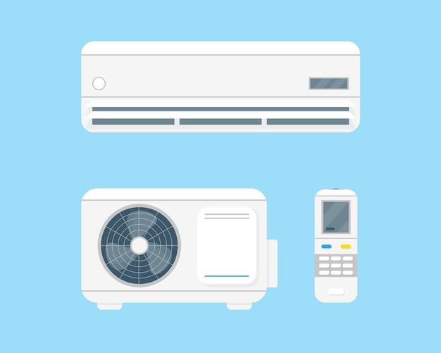 Condizionatore d'aria imposta illustrazione vecor su sfondo blu. sistema di condizionamento e telecomando. Vettore Premium