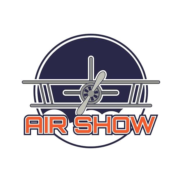 Logo dello spettacolo aereo Vettore Premium