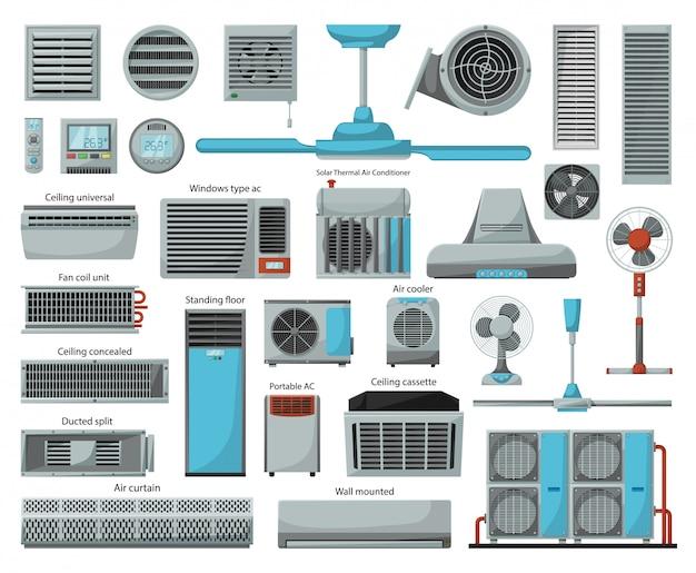 Insieme dell'icona del fumetto del ventilatore di aria Vettore Premium