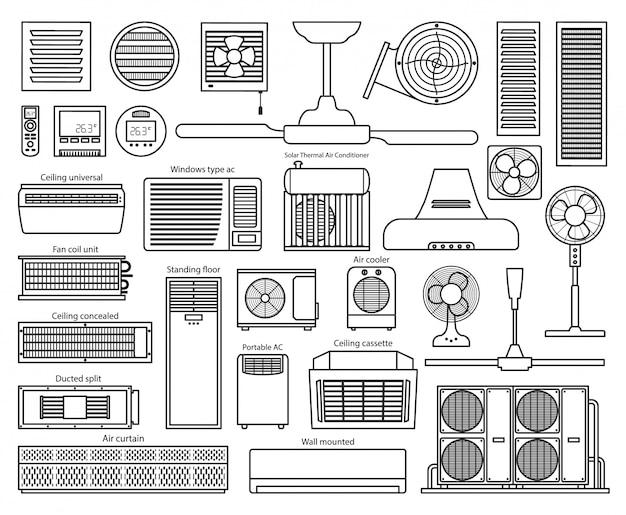 Icona del set di stile di linea del ventilatore di aria Vettore Premium