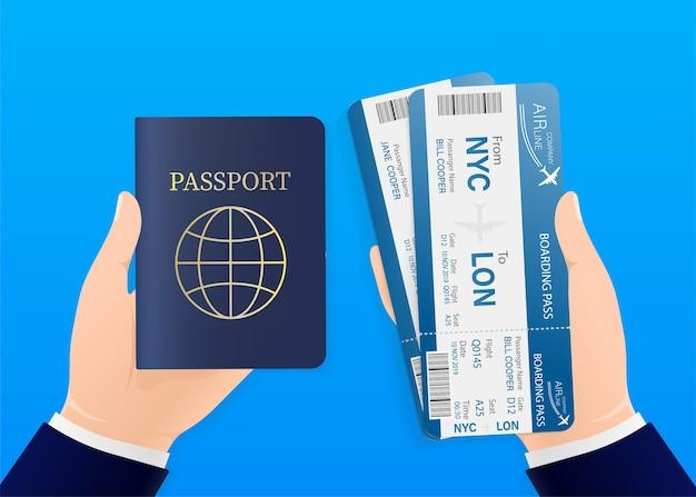 Biglietti aerei, ottimi per qualsiasi scopo. mani con passaporto e biglietti aerei. illustrazione. Vettore Premium