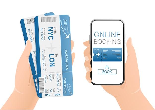 Biglietti aerei online con mani e smartphone in formato. illustrazione. Vettore Premium