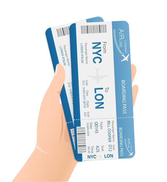 Biglietti aerei per la carta. modello . attività commerciale . . Vettore Premium
