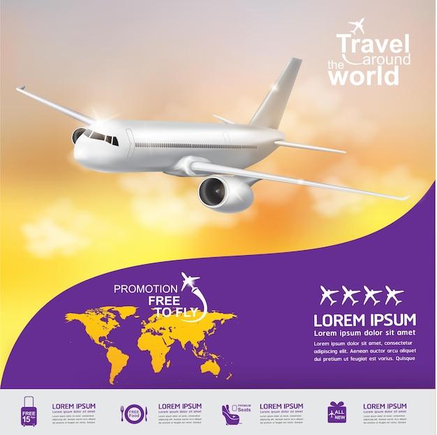 Concetto di aeroplano viaggia intorno al banner del mondo Vettore Premium