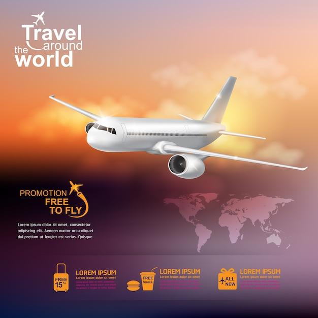 Concetto di aeroplano viaggi intorno al mondo Vettore Premium