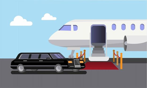 Automobile e tappeto rosso delle limousine dell'aeroplano, partenza, illustrazione piana di arrivo Vettore Premium