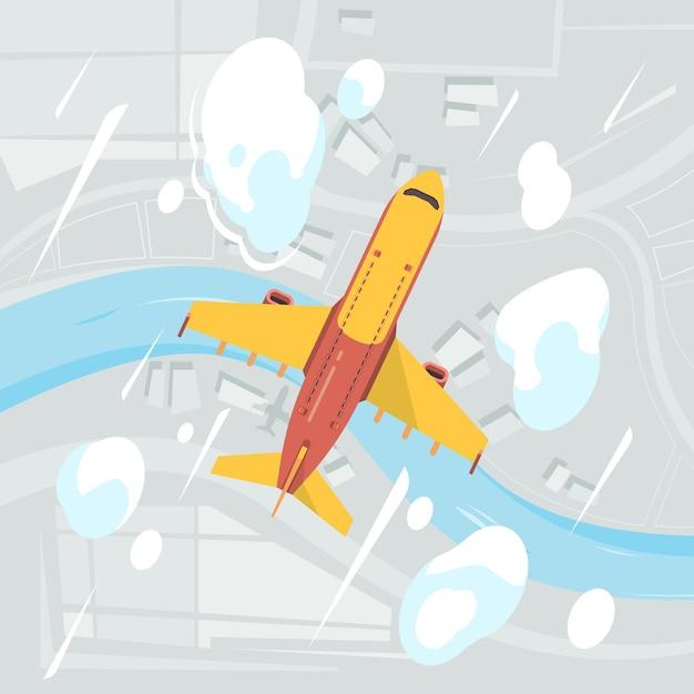 Vista dall'alto del cielo dell'aeroplano. volo aereo da trasporto aereo civile nuvole sfondo aereo. illustrazione viaggio aereo, volo aereo Vettore Premium