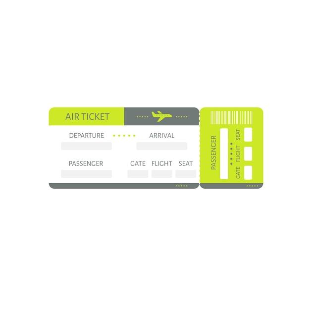 Illustrazione del coupon di imbarco dell'icona del biglietto dell'aeroplano Vettore Premium