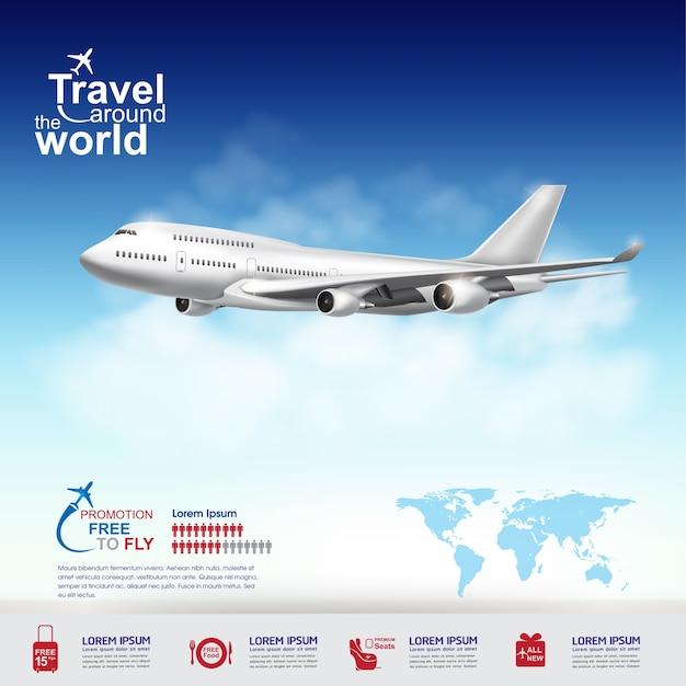 Viaggio in aereo in tutto il mondo banner Vettore Premium