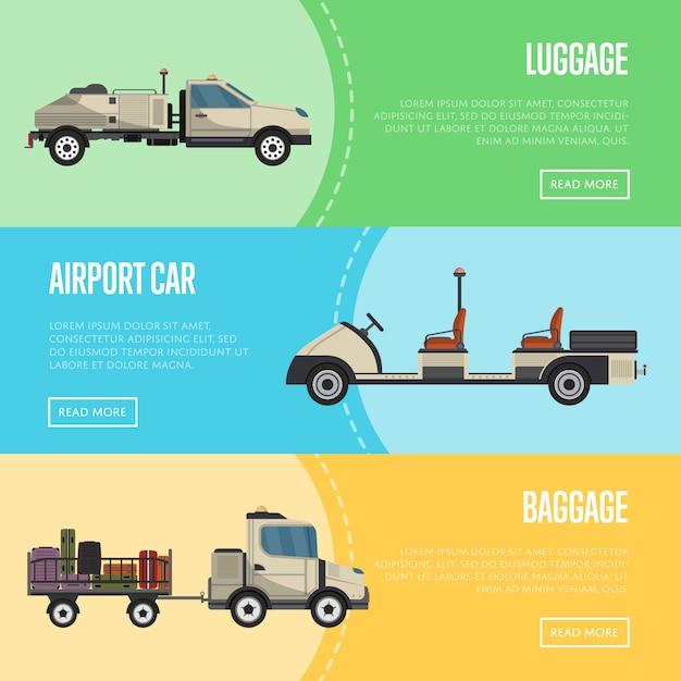 Banner aeroportuali con tecniche di terra Vettore Premium