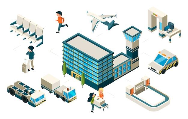 Concetto di aeroporto. aeroporto aereo isometrico costruzione di veicoli passeggeri. elementi di trasporto. aereo di illustrazione e aeroporto, passeggeri e terminal isometrici Vettore Premium