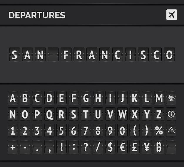 Carattere di capovolgimento dell'aeroporto e icona dell'aeroplano che mostra la partenza per san francisco negli stati uniti Vettore Premium
