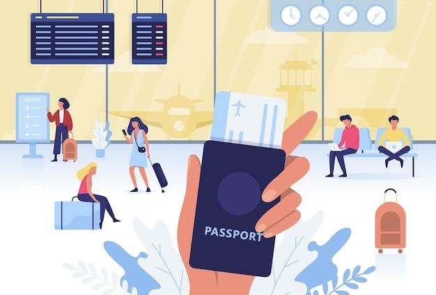 Set aeroporto. passaporto e biglietto della holding della mano Vettore Premium