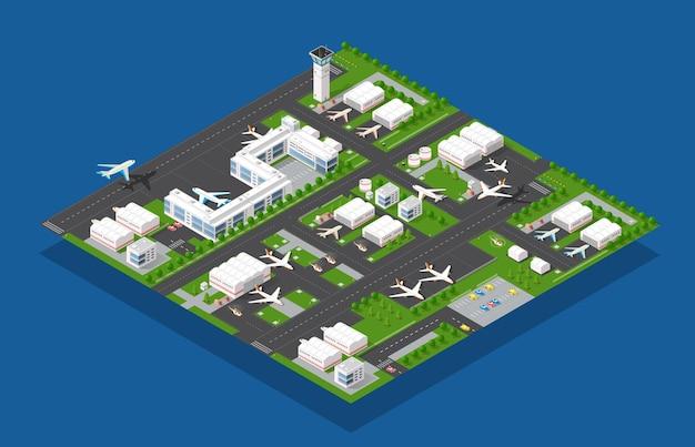 Terminal aeroportuale per l'arrivo e la partenza di aeromobili e passeggeri in viaggio Vettore Premium
