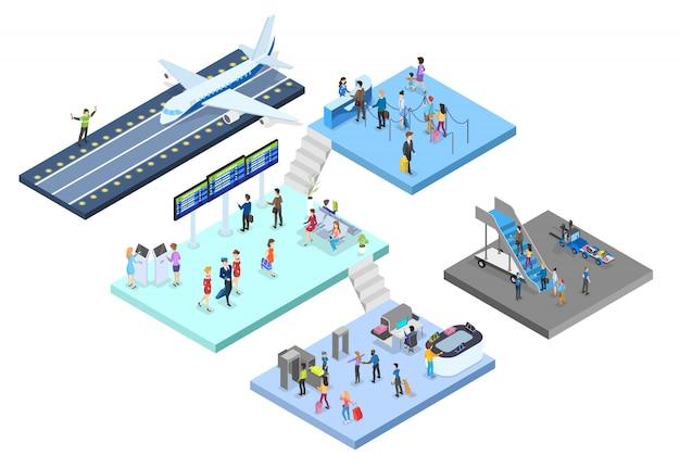 Aeroporto con set passeggeri. check-in e sicurezza, sala d'aspetto e registrazione. le persone con passaporto guardano il programma. concetto di viaggio e turistico. illustrazione isometrica Vettore Premium